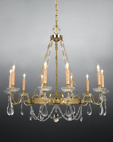 Crystal and cast brass ten light chandelier LCC-7a