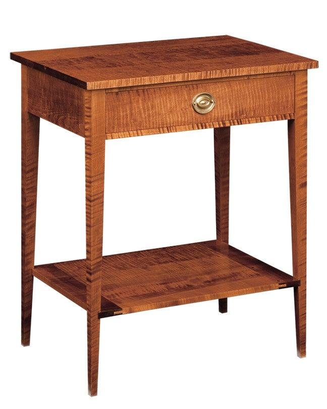Side table with shelf and tapered legs fosts federalist