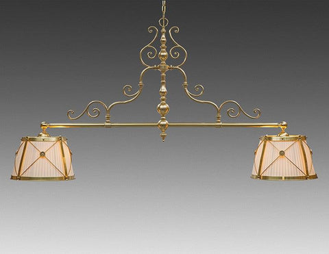 Brass And Fabric Two Shade X And Rosette Scroll Design Pole Chandelier LCFI-73