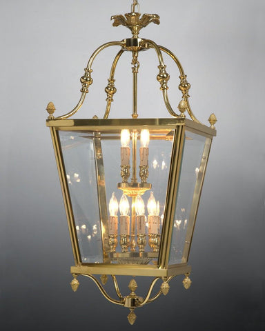 Cast Brass And Glass Two Tier Carriage Style Lantern LL-22