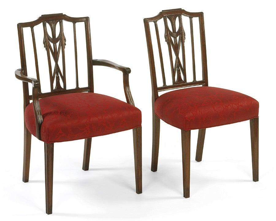 Federal Style With Carved Draped Arm Chair And Side Chair FSFI 4