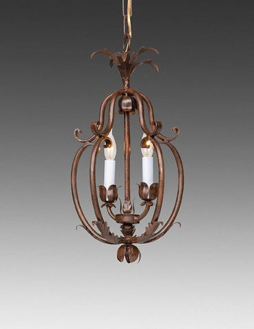 Wrought Iron Floral And Leaf Cage Design Chandelier LCFI-71B