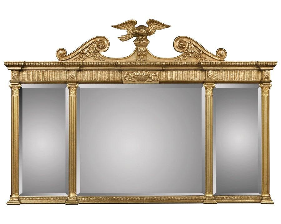 Beveled Mirror With Eagle And Applied Scrolls Federalist
