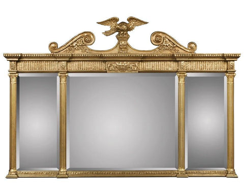 three section gold beveled mirror with eagle