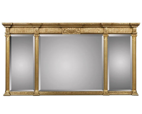 three section antique beveled mirror