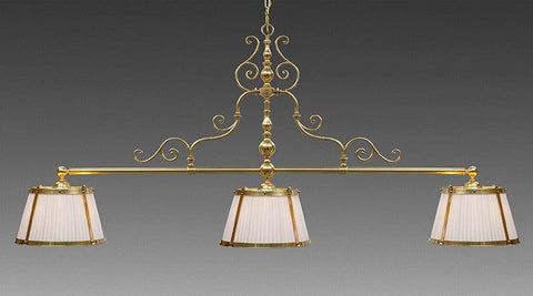 Brass And Fabric Three Shade Scroll Design Pole Chandelier LCFI-72