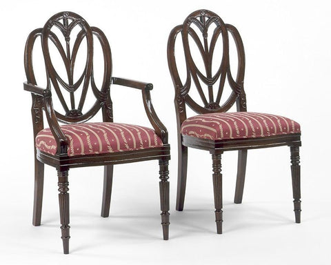 Federal Style With Carved Draped Arm Chair And Side Chair FSFI 3a