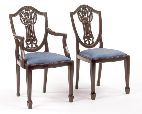 Adam style shield back with carved urn and swag design arm chair and side chair FSFI-8