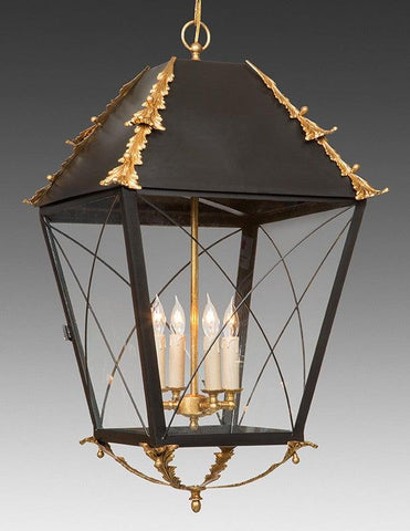 Criss Cross Hanging Lantern With Applied Leaf Design LL-95