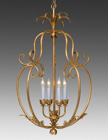 Wrought Iron Floral And Leaf Cage Design Chandelier LCFI-69