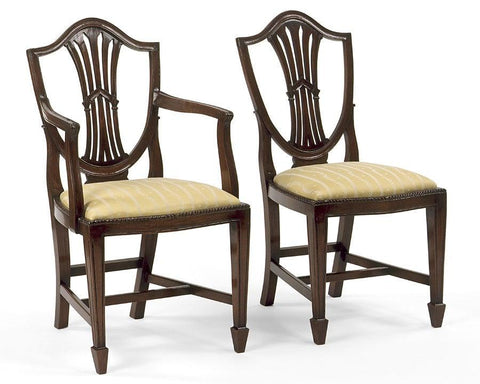 Sheraton Style Shield Back With Carved Inverted V Design Arm Chair And Side  Chair FSFI
