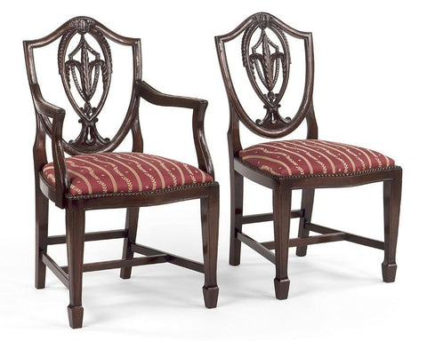 Sheraton style shield back with carved leaf arm chair and side chair FSFI-7a