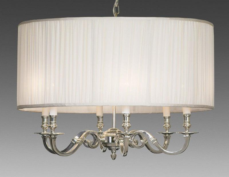 Brass And Drum Style Fabric Shade Six Light Chandelier Lcfi 64b