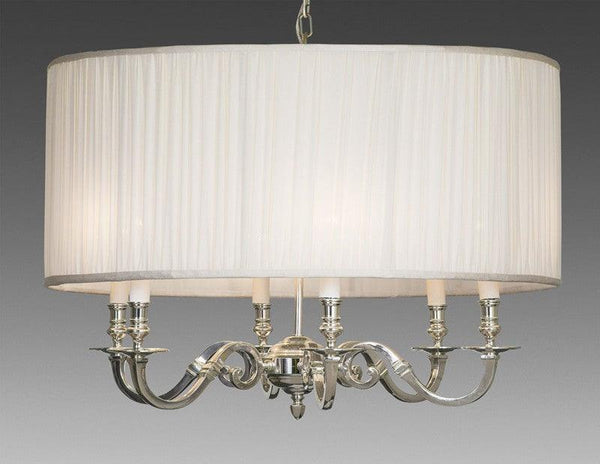 Drum Style Fabric Shade Six Light Chandelier Federalist