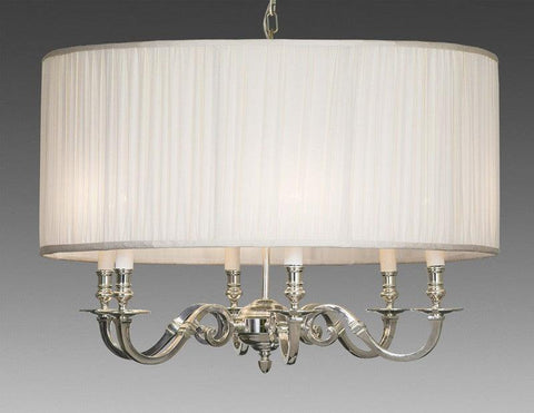 Brass And Drum Style Fabric Shade Six Light Chandelier LCFI-64B