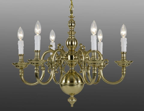 Cast Brass Chippendale Style Six Light Chandelier LCFI-62
