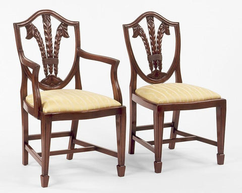 Sheraton style shield back with carved Prince of Wales feathers design arm chair and side chair FSFI-9
