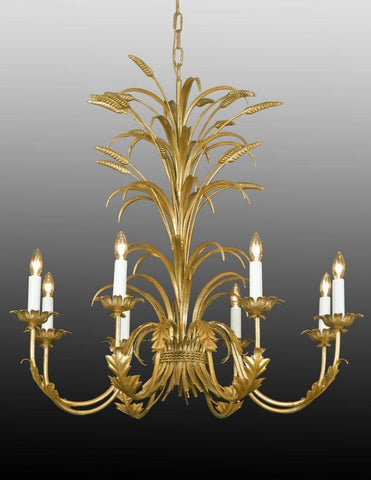 Metal Wheat And Leaf Design Eight Light Chandelier LCFI-63