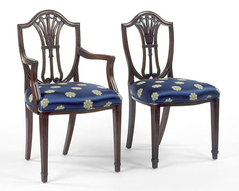 Hepplewhite Style Shield Back With Carved Tulip Design Arm Chair And Side  Chair FSFI 1a