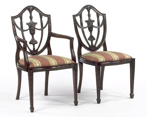 Sheraton style shield back with carved urn arm chair and side chair FSFI-6