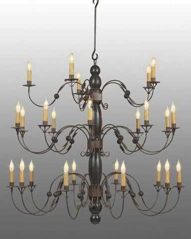 Metal And Wood Tiered Chandelier LCHSC-12