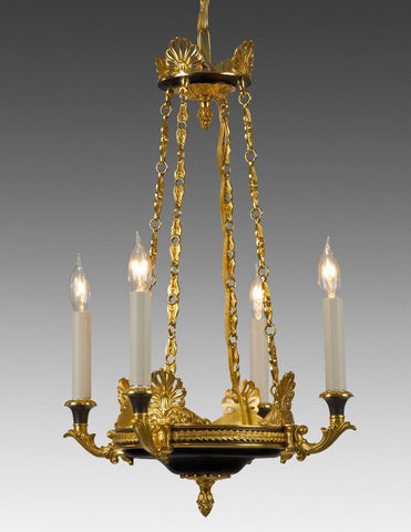 Cast brass and metal four light chandelier LCFI-13