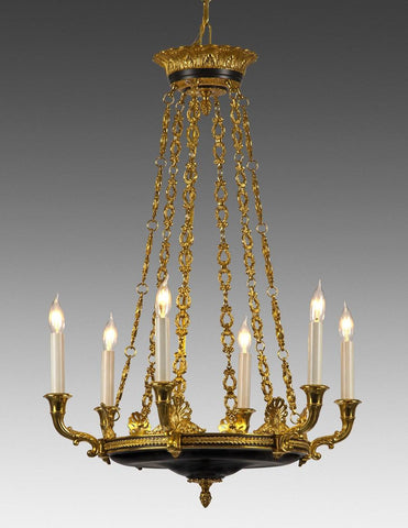 Cast Brass And Metal Six Light Chandelier LCFI-55