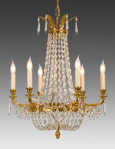 Crystal and cast brass six light chandelier LCC-19
