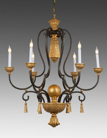 Metal and wood  tassel and ball design six light chandelier LCFI-46