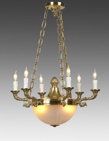 Cast Brass And Frosted Glass Federal Style Six Light Chandelier LCFI-58