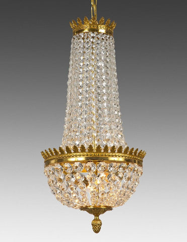 Crystal and cast brass two light chandelier LCC-25