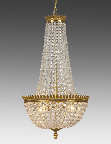 Crystal and cast brass four light chandelier LCC-26