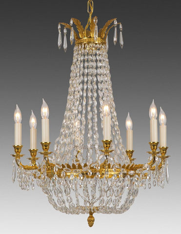 Crystal and cast brass eight light chandelier LCC-20