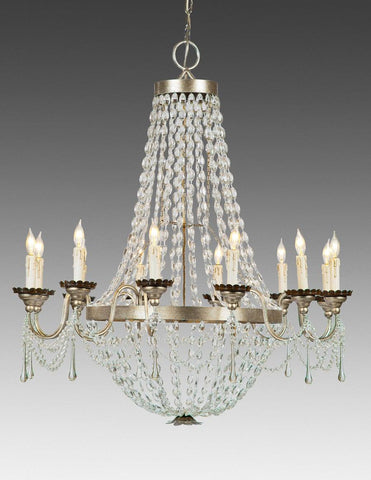 Crystal and metal twelve light chandelier LCC-24