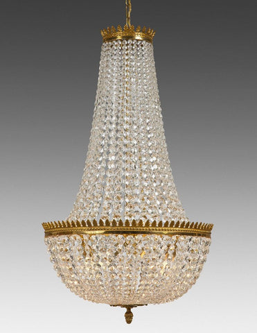 Crystal and cast brass four light chandelier LCC-27
