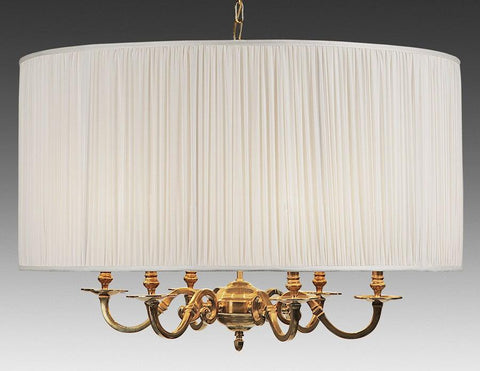 Brass And Drum Style Fabric Shade Six Light Chandelier LCFI-65