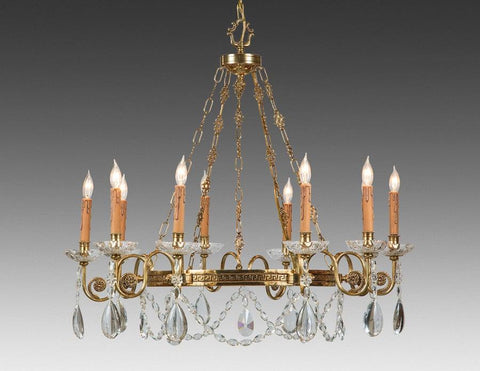 Crystal and cast brass ten light chandelier with patina LCC-7b