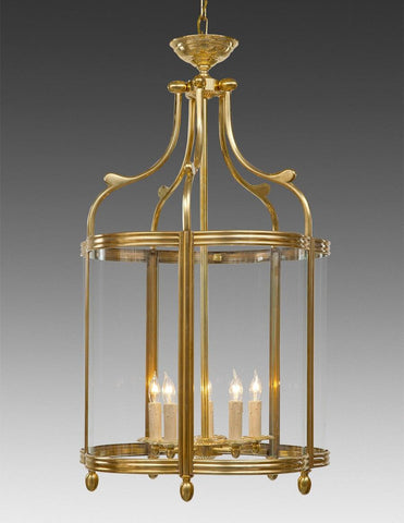 Brass And Glass Shaped Lantern LL-54