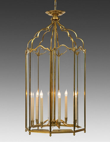 English Style Lantern Eight Light With Beveled Glass LL-66