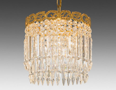Crystal and cast brass one light chandelier LCC-28