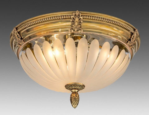 Brass And Frosted Glass Ceiling Mount Lantern LCM-20