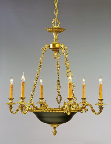 Brass And Metal Six Light Chandelier LCFI-85