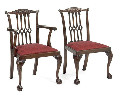 Chippendale style carved pierced back arm chair and side chair FSFI-23