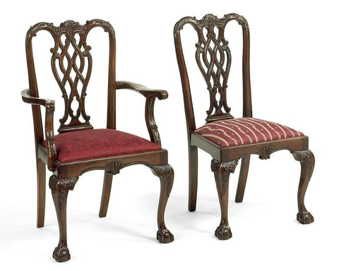 Chippendale style carved interlaced back design arm chair and side chair FSFI-20