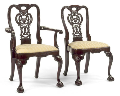 Chippendale style carved rococco back design arm chair and side chair FSFI-22