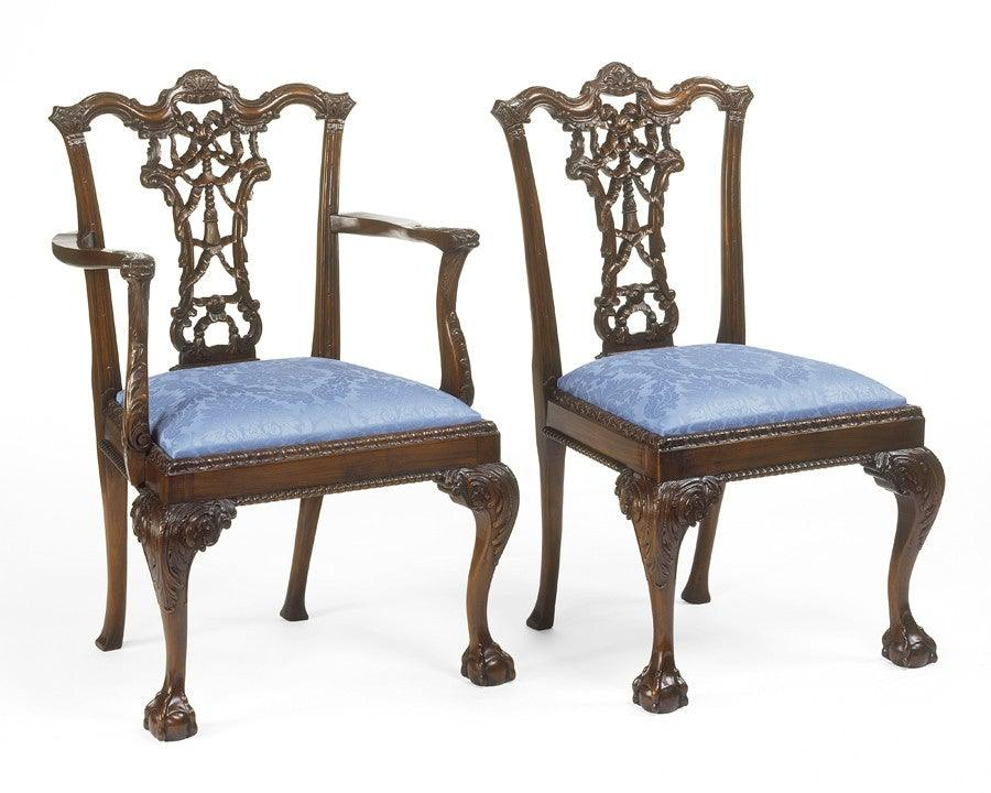 Chippendale Style Carved Bow And Tassel Back Design Arm Chair And Side Chair  FSFI 19