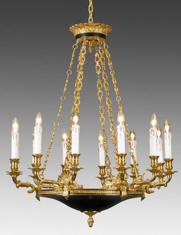 Cast Brass And Metal Twelve Light Chandelier LCFI-56