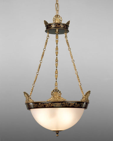 Brass and tole with frosted glass three light chandelier LCFI-40