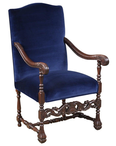 William and Mary style carved front stretcher arm chair FSFI-43