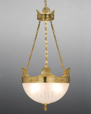 Brass and frosted glass three light chandelier LCFI-38